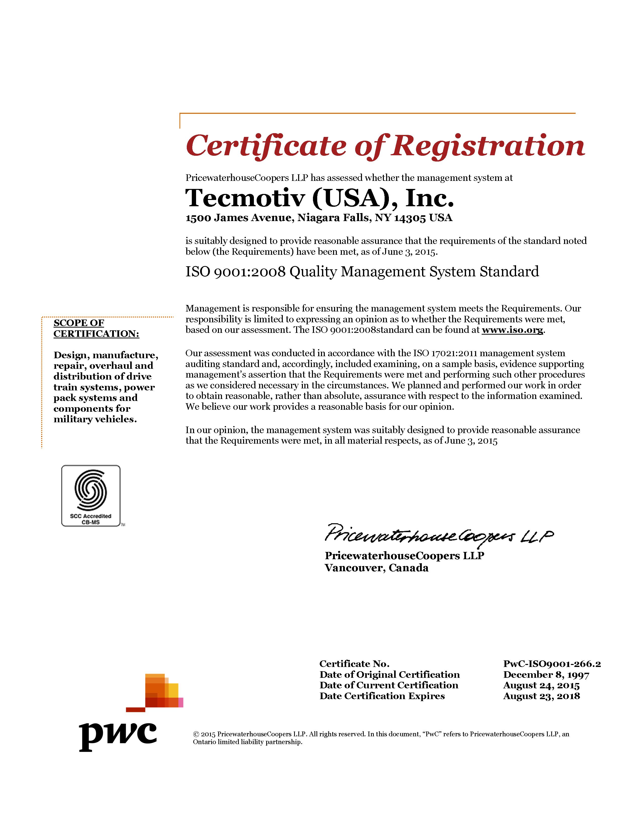 Tecmotiv (USA), Inc – ISO 9001:2008 Certification